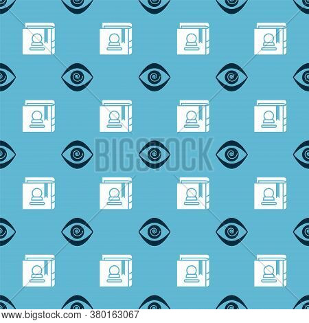 Set Hypnosis And Ancient Magic Book On Seamless Pattern. Vector