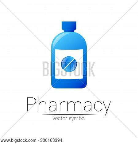 Pharmacy Vector Symbol With Blue Bottle And Pill Tablet For Pharmacist, Pharma Store, Doctor And Med