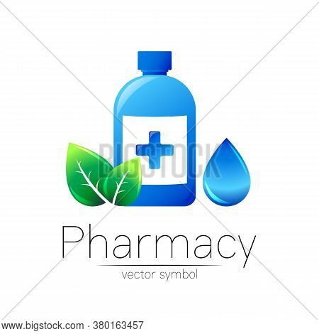 Pharmacy Vector Symbol With Blue Bottle And Cross, Green Leaf And Drop For Pharmacist, Pharma Store,