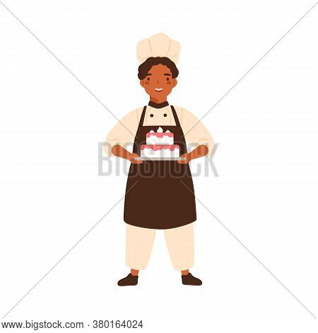 Adorable Chief Cook Child, Cute Kid In Chef Uniform. Confectioner Boy In Cooking Apron, Toques, With