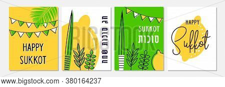 Greeting Card Set For Jewish Holiday Sukkot. A Vector Illustration Of A Traditional Sukkah . Hebrew