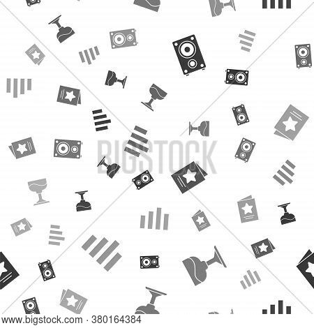 Set Stereo Speaker, Cocktail, Greeting Card And Music Equalizer On Seamless Pattern. Vector