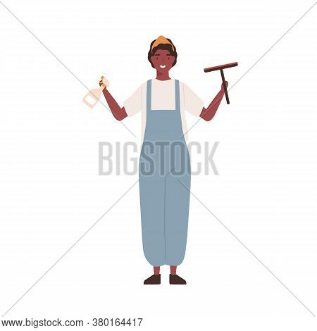 Cheerful Woman Cleaning Service Worker In Janitor Uniform Holding Sprinkler And Window Cleaning Brus
