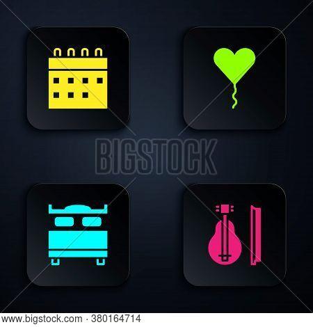 Set Violin, Calendar, Bedroom And Balloon Form Of Heart. Black Square Button. Vector