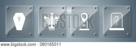 Set Grave With Tombstone, Location Grave, Christmas Angel And Coffin With Cross. Square Glass Panels