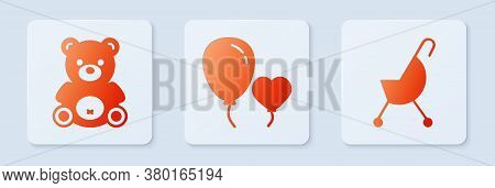 Set Balloons In Form Of Heart, Teddy Bear Plush Toy And Baby Stroller. White Square Button. Vector
