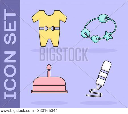 Set Wax Crayon For Drawing, Baby Clothes, Cake With Burning Candles And Rattle Baby Toy Icon. Vector