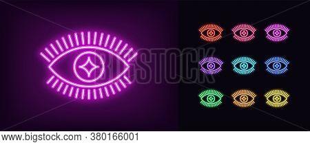 Neon Magic Eye Icon. Glowing Neon Eye Sign With Glint Iris, Spiritual Vision In Vivid Colors. Mystic