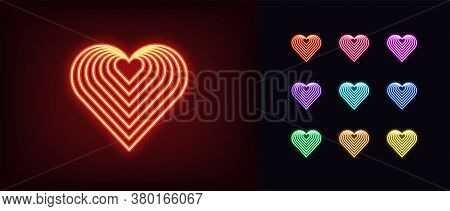 Neon Heart Icon. Glowing Neon Heart Sign With Repeat Texture, Amour Shape In Vivid Colors. Romantic
