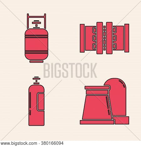 Set Oil And Gas Industrial Factory Building, Propane Gas Tank, Industry Metallic Pipes And Valve And