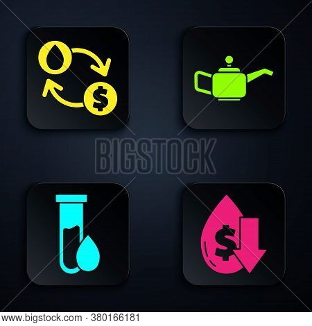 Set Drop In Crude Oil Price, Oil Exchange, Water Transfer, Convert, Oil Petrol Test Tube And Caniste