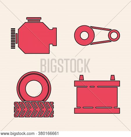 Set Car Battery, Check Engine, Timing Belt Kit And Car Wheel Icon. Vector