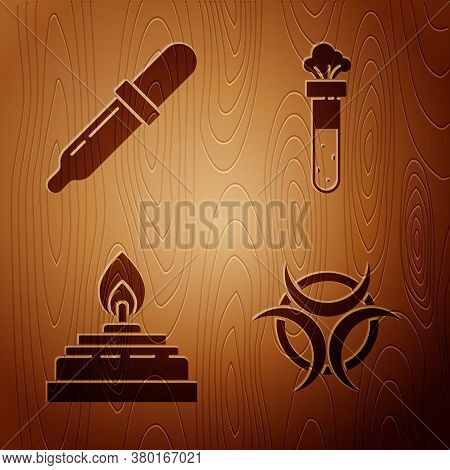 Set Biohazard Symbol, Pipette, Alcohol Or Spirit Burner And Test Tube And Flask Chemical On Wooden B