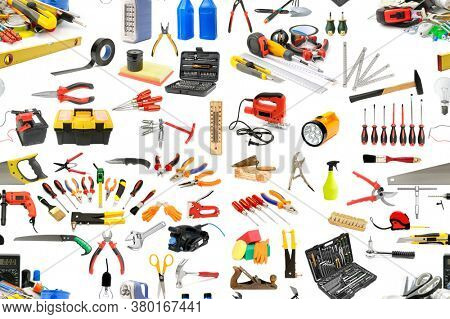 Seamless pattern of tools necessary for the repair and maintenance of the house. Isolated on white.