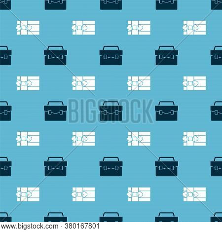 Set Briefcase And Gift Box On Seamless Pattern. Vector