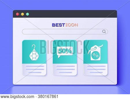 Set Fifty Discount Percent Tag, Earring And Discount Percent Tag Icon. Vector