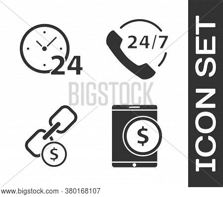 Set Tablet With Dollar, Clock 24 Hours, Chain Link And Coin And Telephone 24 Hours Support Icon. Vec