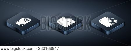 Set Isometric Finance Document Folder, Document Protection Concept And Upload File Document Icon. Ve