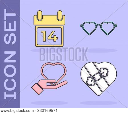 Set Candy In Heart Shaped Box, Calendar With February 14, Heart On Hand And Heart Shaped Love Glasse
