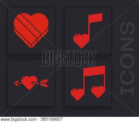 Set Music Note, Tone With Hearts, Candy In Heart Shaped Box, Music Note, Tone With Hearts And Amour