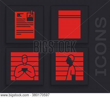 Set Suspect Criminal, Lawsuit Paper, Plastic Bag With Ziplock And Suspect Criminal Icon. Vector
