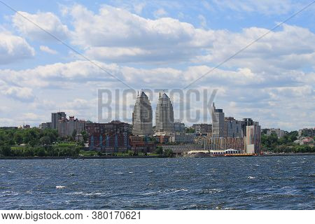 Windy Day, Waves On The Dnieper River, Views Of The Buildings And Skyscrapers Of The Dnipro City, Ci