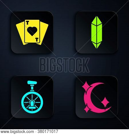 Set Moon And Stars, Playing Cards, Unicycle Or One Wheel Bicycle And Magic Stone. Black Square Butto