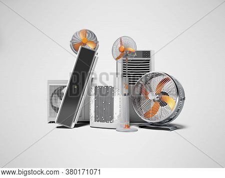 3d Rendering Concept Orange Fans Air Conditioners And Portable Air Conditioners Gray Background With