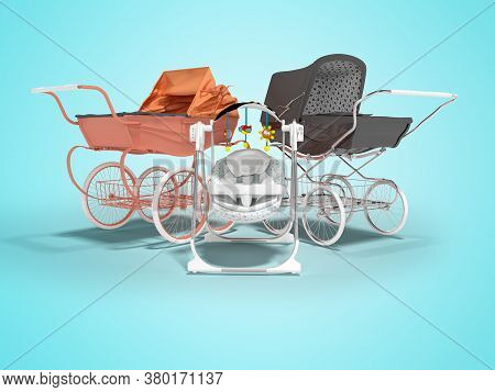 3d Rendering Set For Sleeping Baby, Orange And Black Two Baby Strollers For Walk And Rocking Chair W