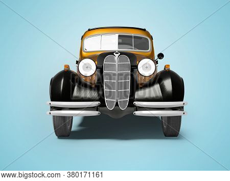 3d Rendering Of Retro Orange Car On Blue Background With Shadow