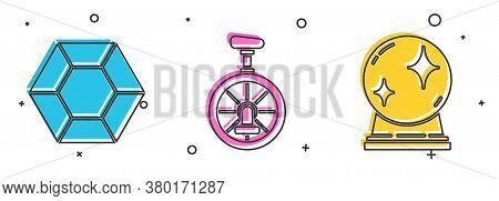 Set Magic Stone, Unicycle Or One Wheel Bicycle And Magic Ball Icon. Vector