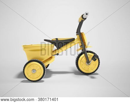 3d Rendering Yellow Tricycle For Child Side View On Gray Background With Shadow