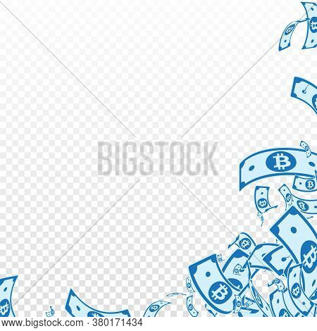 Bitcoin, Internet Currency Notes Falling. Messy Btc Bills On Transparent Background. Cryptocurrency,