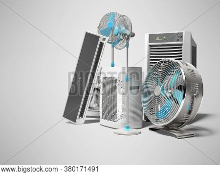 3d Rendering Of Blue Fans Air Conditioners And Portable Air Conditioners For Air Cooling Gray Backgr