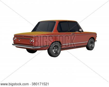 3d Rendering Red Classic Car With Tinted Windows Rear View On White Background No Shadow