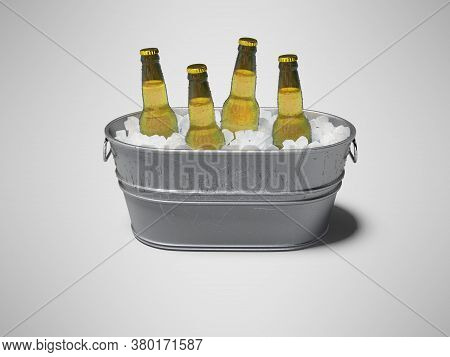3d Rendering Concept Of Chilled Alcohol In Bucket With Ice On Gray Background With Shadow
