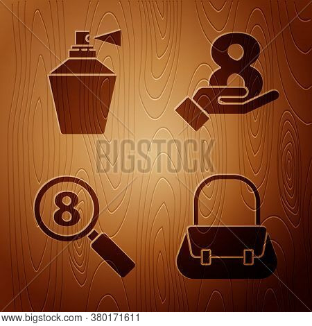 Set Handbag, Perfume, Search 8 March And 8 March On Hand On Wooden Background. Vector