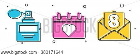 Set Perfume, Calendar With 8 March And Envelope With 8 March Icon. Vector