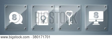 Set 8 March On Monitore, Key In Heart Shape, Book About Women And 8 March In Speech Bubble. Square G