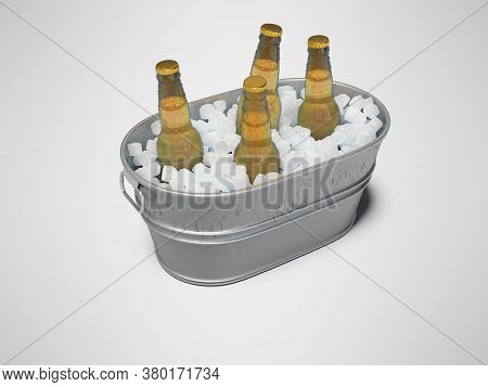 3d Rendering Concept Of Chilled Beer In An Ice Bucket On Gray Background With Shadow