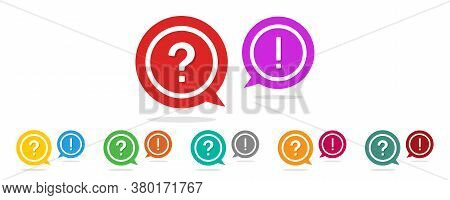 Question And Exclamation Mark. Icon Of Faq, Help And Support. Ask And Answer Symbol In Circle. Sign