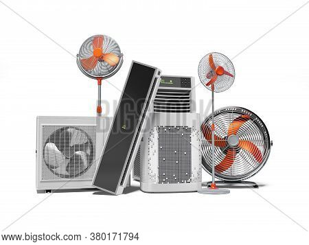 3d Rendering Orange Fans Air Conditioners And Portable Air Conditioners White Background With Shadow