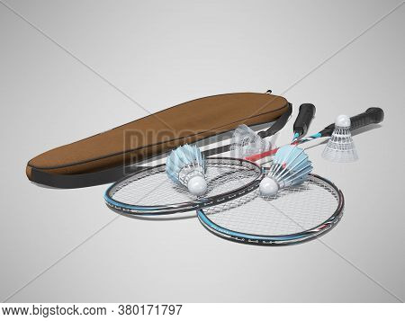 3d Rendering Set Of Badminton Rackets For Adults On Gray Background With Shadow