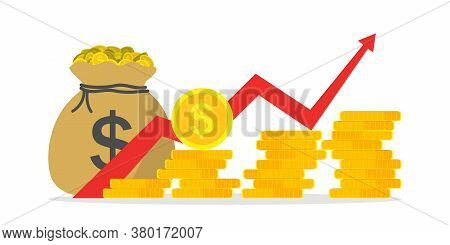 Money Profit Growth. Chart Of Revenue, Margin. Graph Of Budget Up. Investment Finance - Return Of Ca