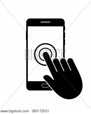 Icon Phone. Mobile App In Smartphone. Finger Click On Touch Screen. Service Of Healthcare In Cellpho