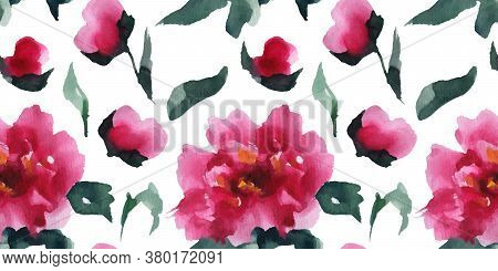 Floral Seamless Pattern Of Pink Peones, Chinese Watercolor Art