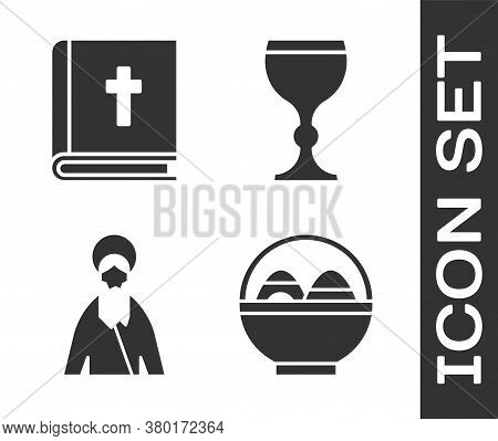 Set Basket With Easter Eggs, Holy Bible Book, Jesus Christ And Wine Glass Icon. Vector