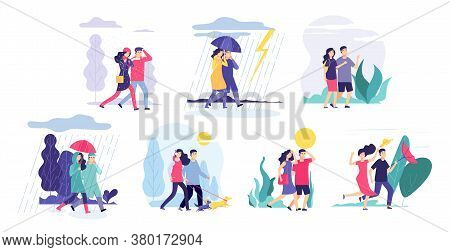 Couple Walking Weather. Girl Boy Walk, Seasonal Rain Thunderstorm Cloudy Sun. People Outdoors Spring