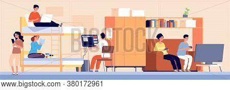 College Dormitory. Student Hostel, Alternative Accommodation In Dorm. Cartoon Boy Girl Teenager Work