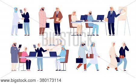 Arab Business People. Saudi Man Meeting Partner, Office Formal Handshake. Muslim Woman On Job, Flat